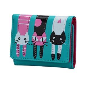 Handbags - Vegan Leather Turquoise Blue Cat Wallet